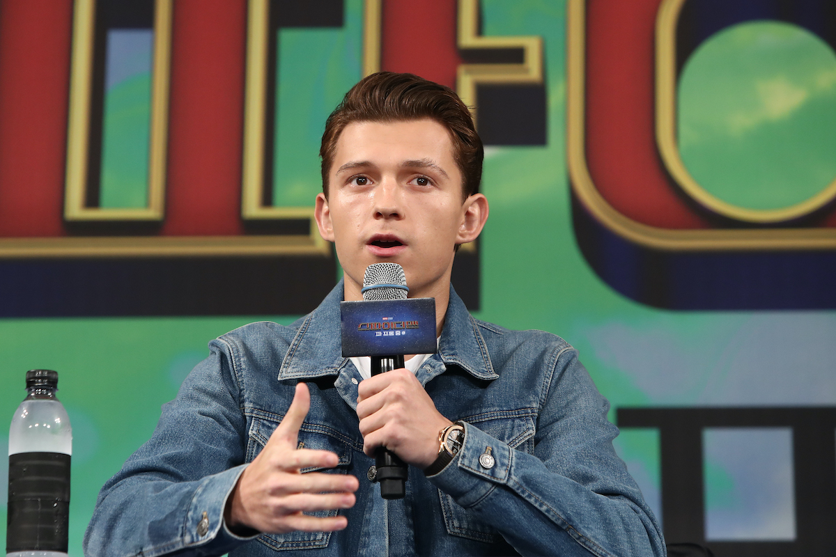 Tom Holland at a 'Spider-Man: Far From Home' press event