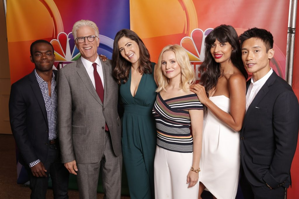 The Good Place cast: William Jackson Harper, Ted Danson, D'Arcy Carden, Kristen Bell, Jameela Jamil, and Many Jacinto