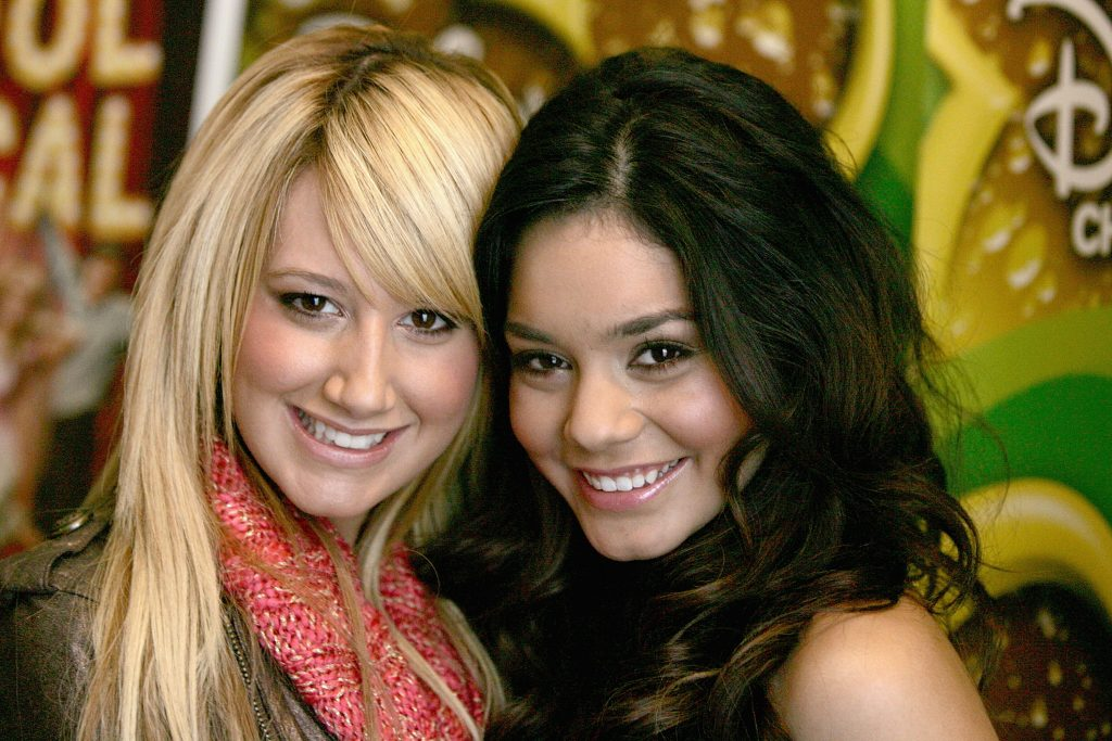 Ashley Tisdale and Vanessa Hudgens (R) attend a breakfast with the cast of 'High School Musical' on December 16, 2005