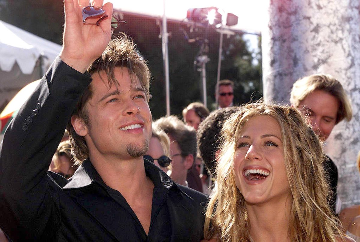 Brad Pitt and Jennifer Aniston arrive for the 51st Emmy Awards on  Sept. 12, 1999 in Los Angeles, California.
