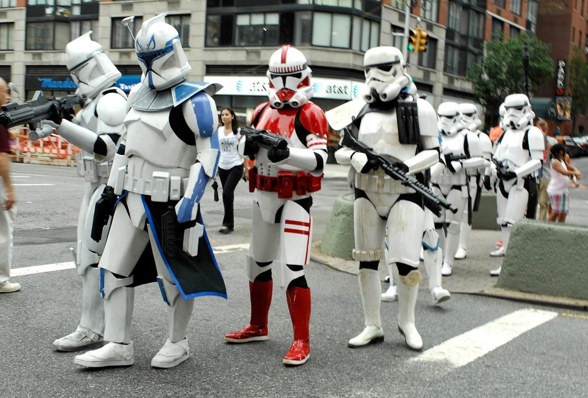 Actors portraying Stormtroopers and Clone Troopers attend the New York International Children's Film Festival