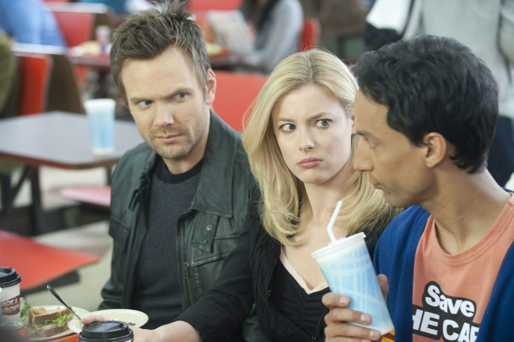 Joel McHale as Jeff, Gillian Jacobs as Britta, and Danny Pudi as Abed on 'Community'