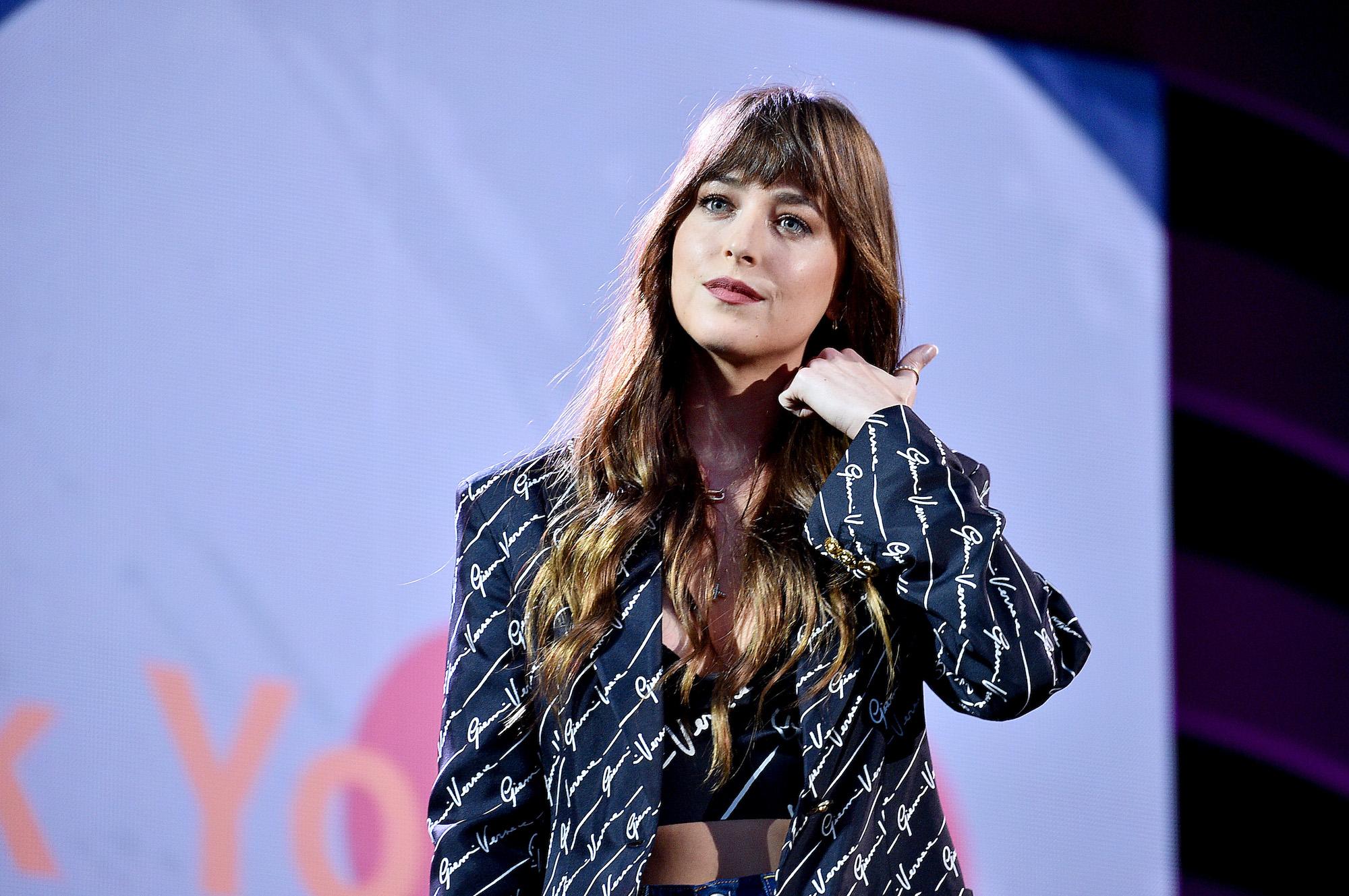 Dakota Johnson onstage during the 2019 Global Citizen Festival: Power The Movement in Central Park on September 28, 2019.