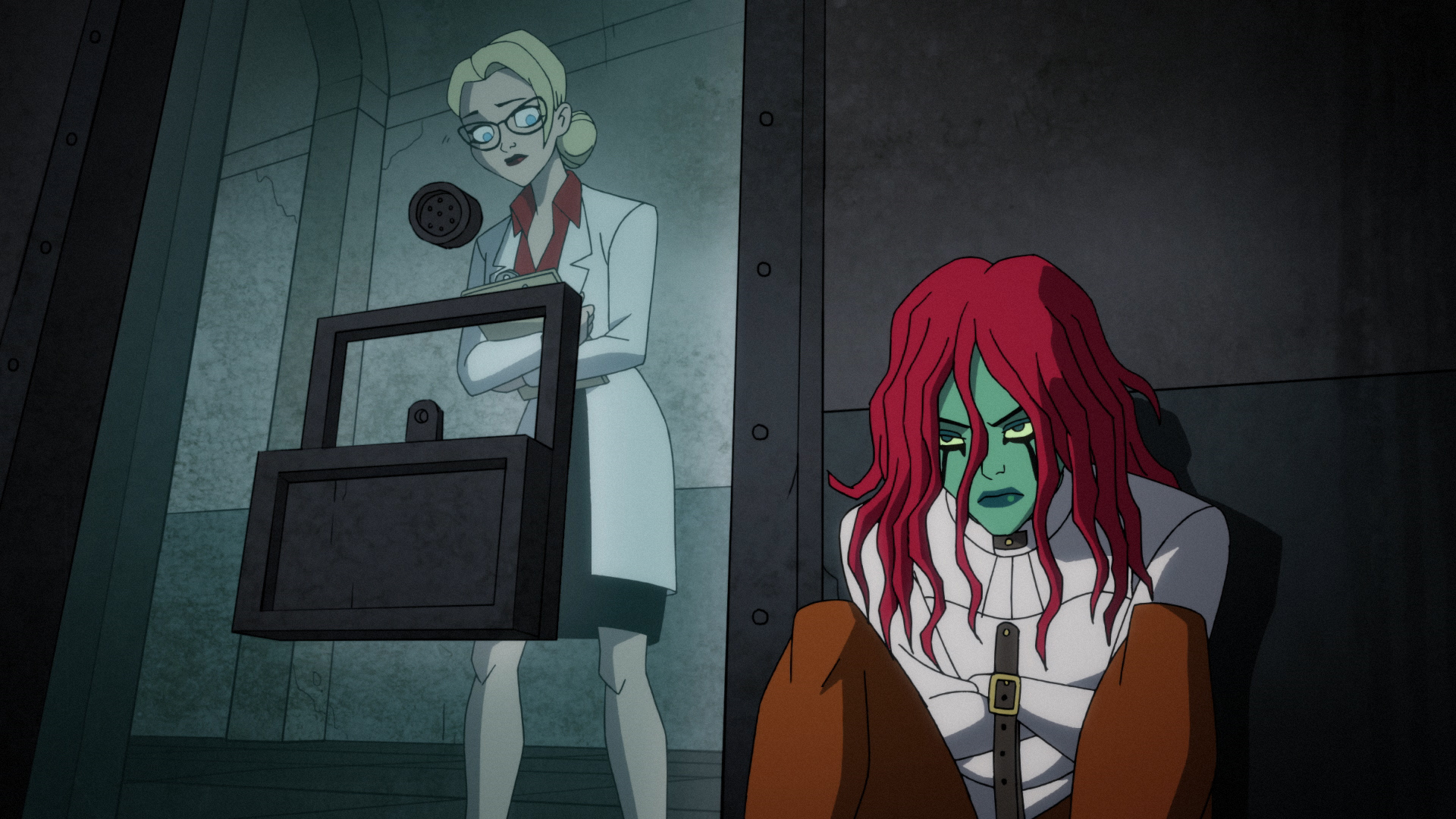 Dr. Harleen Quinzel and Poison Ivy when they first meet in Arkham Asylum.
