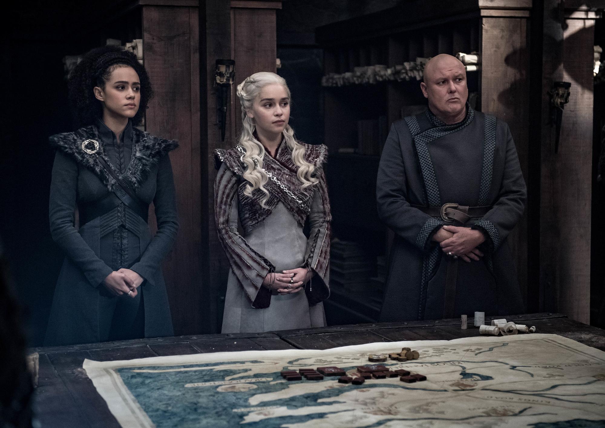 Missandei (Nathalie Emmanuel), Daenerys (Emilia Clarke), and Varys (Conleth Hill) in Season 8, Episode 4, 'Game of Thrones'