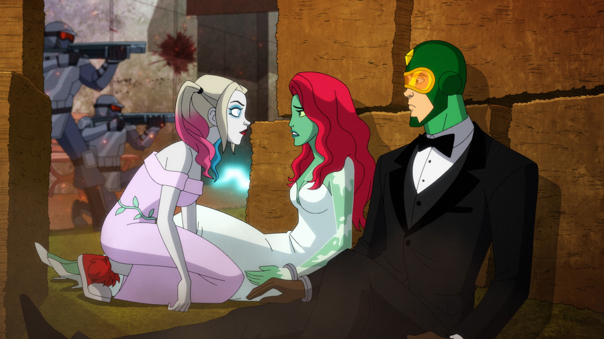 Harley Quinn, Poison Ivy, and Kite Man after the wedding is ruined.