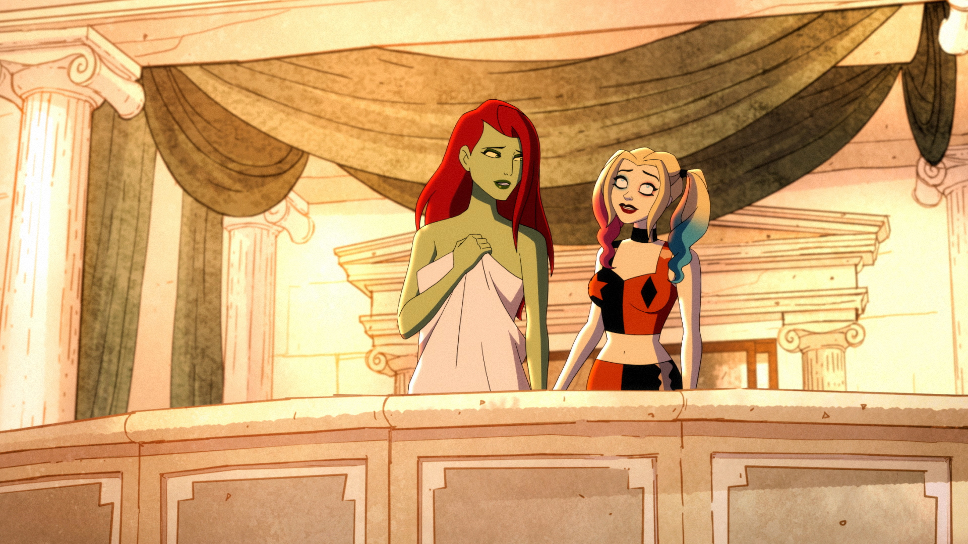 Poison Ivy and Harley Quinn during Ivy's Bachelorette Party.