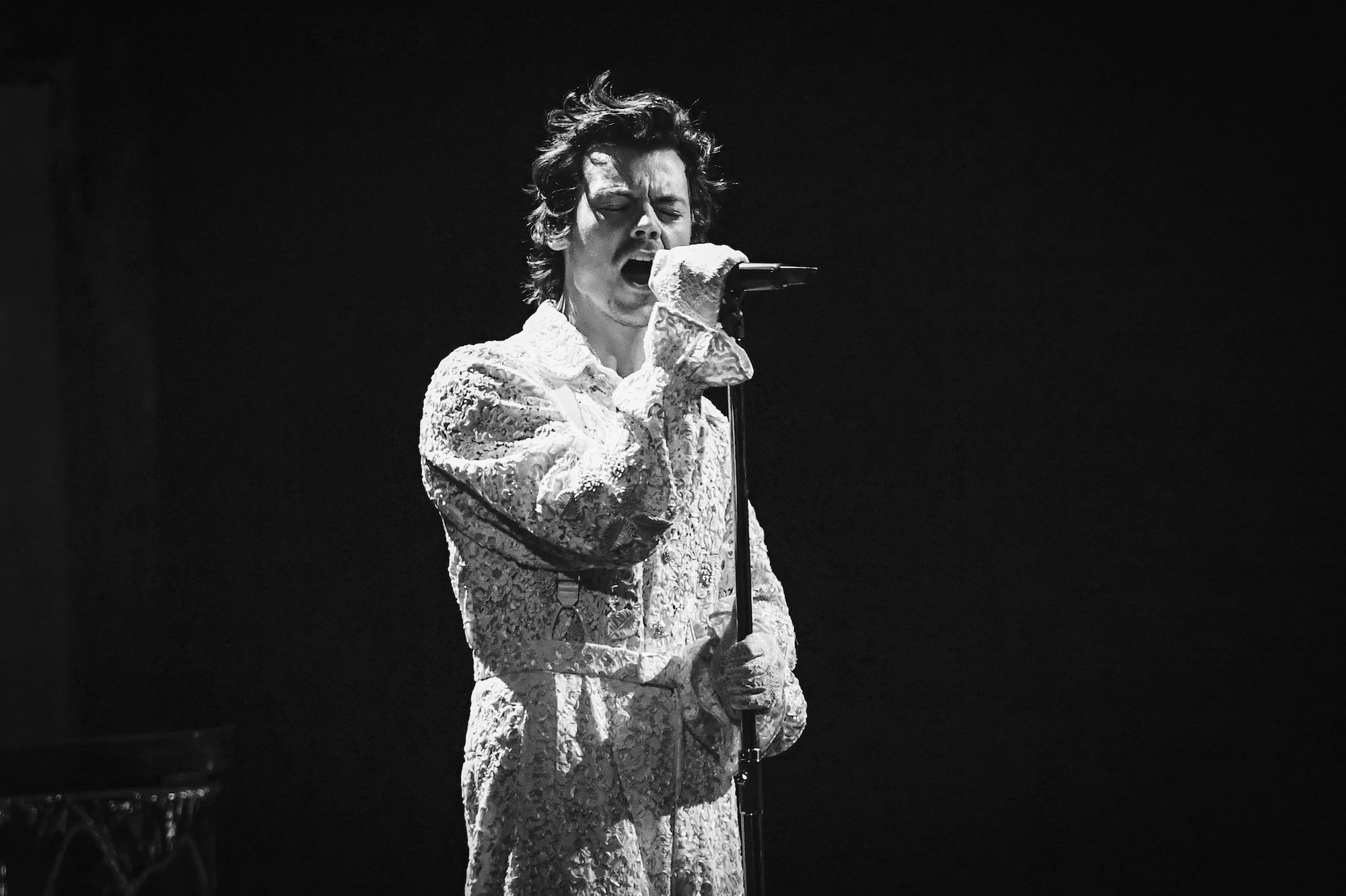 Harry Styles singing at The BRIT Awards 2020 at The O2 Arena on February 18, 2020