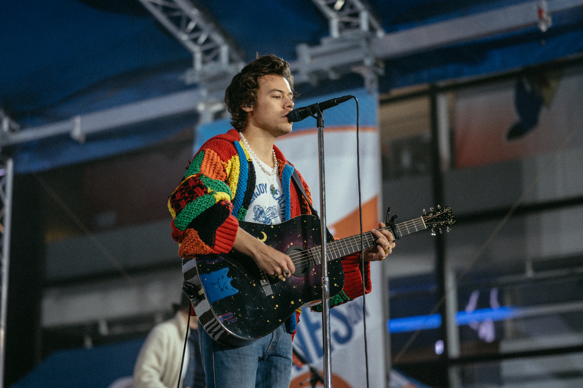 Harry Styles rehearsing for the Today Show on February 26, 2020