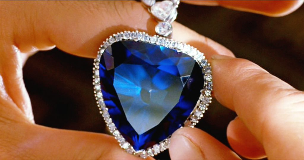 Someone holding the Heart of the Ocean diamond
