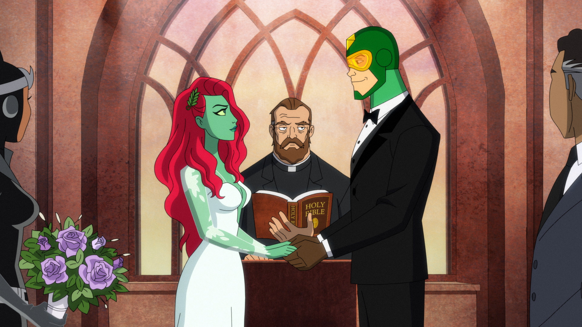Poison Ivy and Kite Man at their wedding in the Season finale of 'Harley Quinn.'