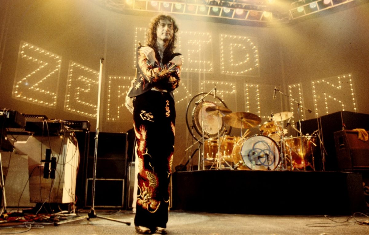 Jimmy Page along on stage in 1975