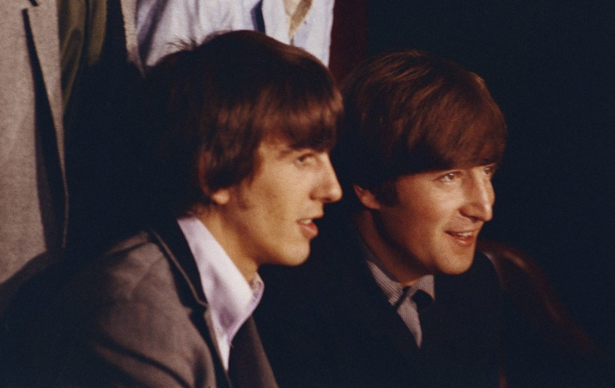 Beatles George and John at a 1965 press conference