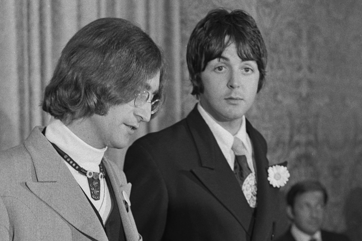 John Lennon and Paul McCartney at a press conference