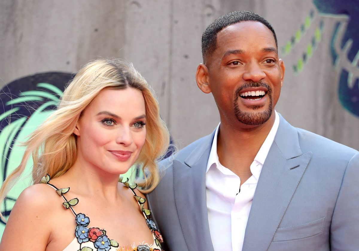 Margot Robbie and Will Smith attend the European Premiere of 'Suicide Squad' on August 3, 2016