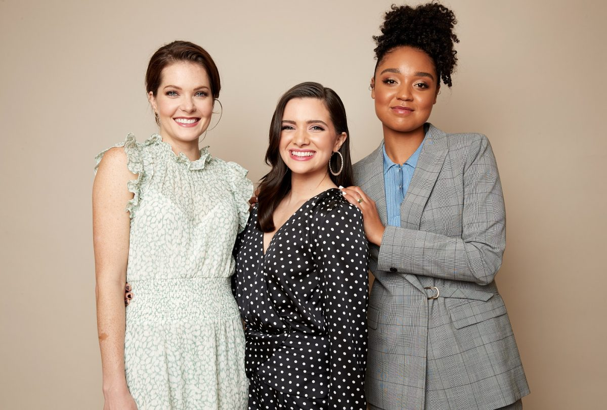 Meghann Fahy, Katie Stevens and Aisha Dee of 'The Bold Type' at the 2019 Winter TCAs on February 5, 2019 in Pasadena, California.