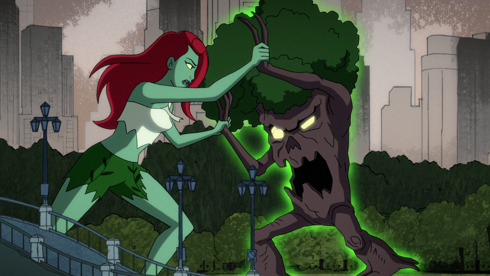 Poison Ivy (voiced by Lake Bell) fights off an infected tree in 'Harley Quinn' Season 1.