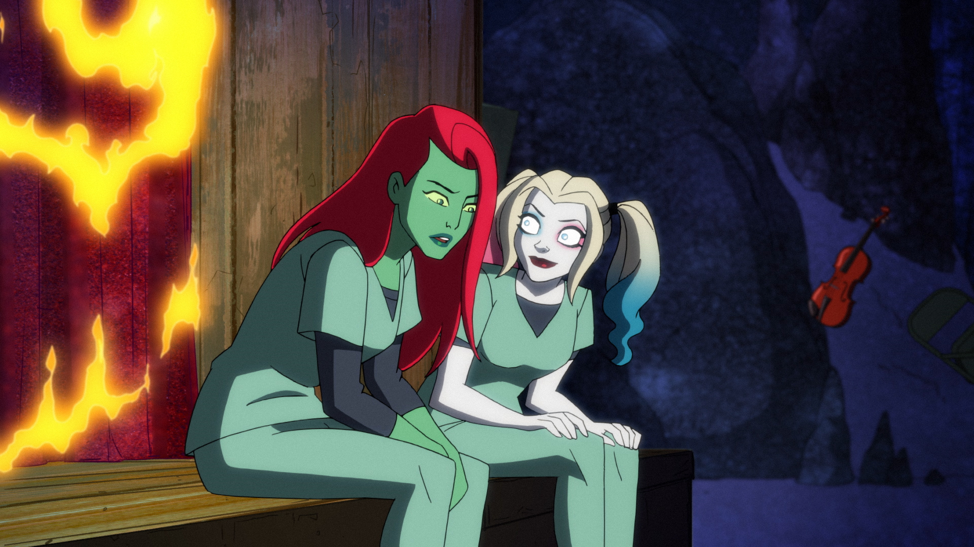 Poison Ivy and Harley Quinn in Bane's pit prison in Season 2 of 'Harley Quinn'