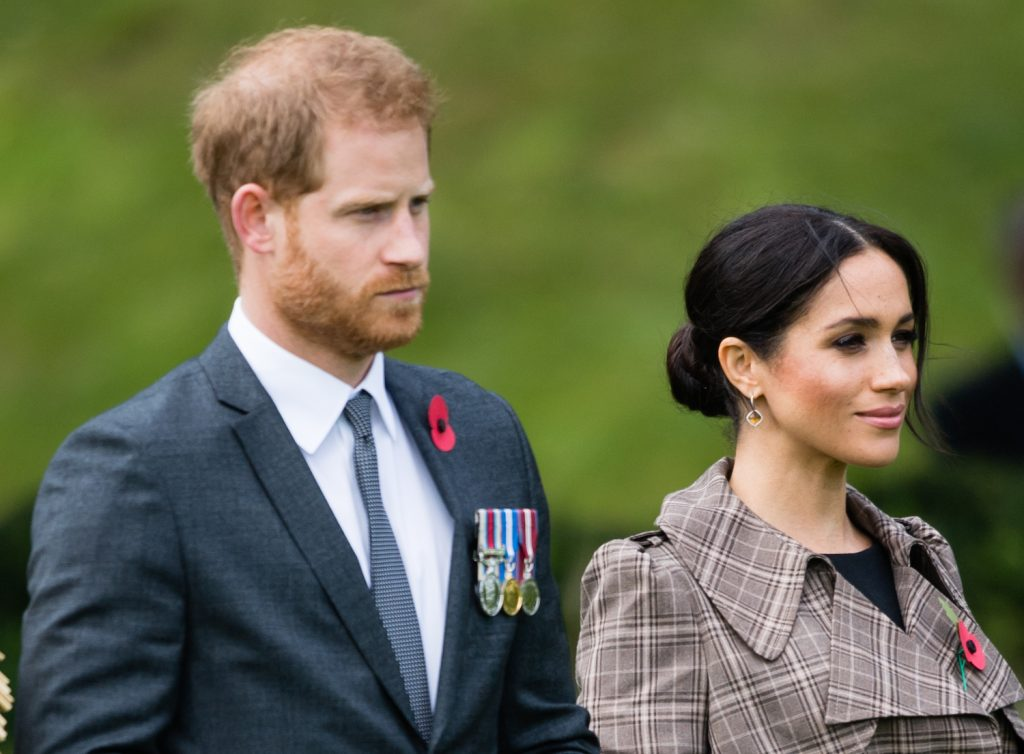 Prince Harry and Meghan Markle attend a traditional welcome ceremony on the lawns of Government House in Wellington, New Zealand