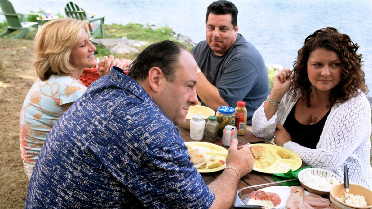 'Sopranos' actors perform in a scene by a lake.