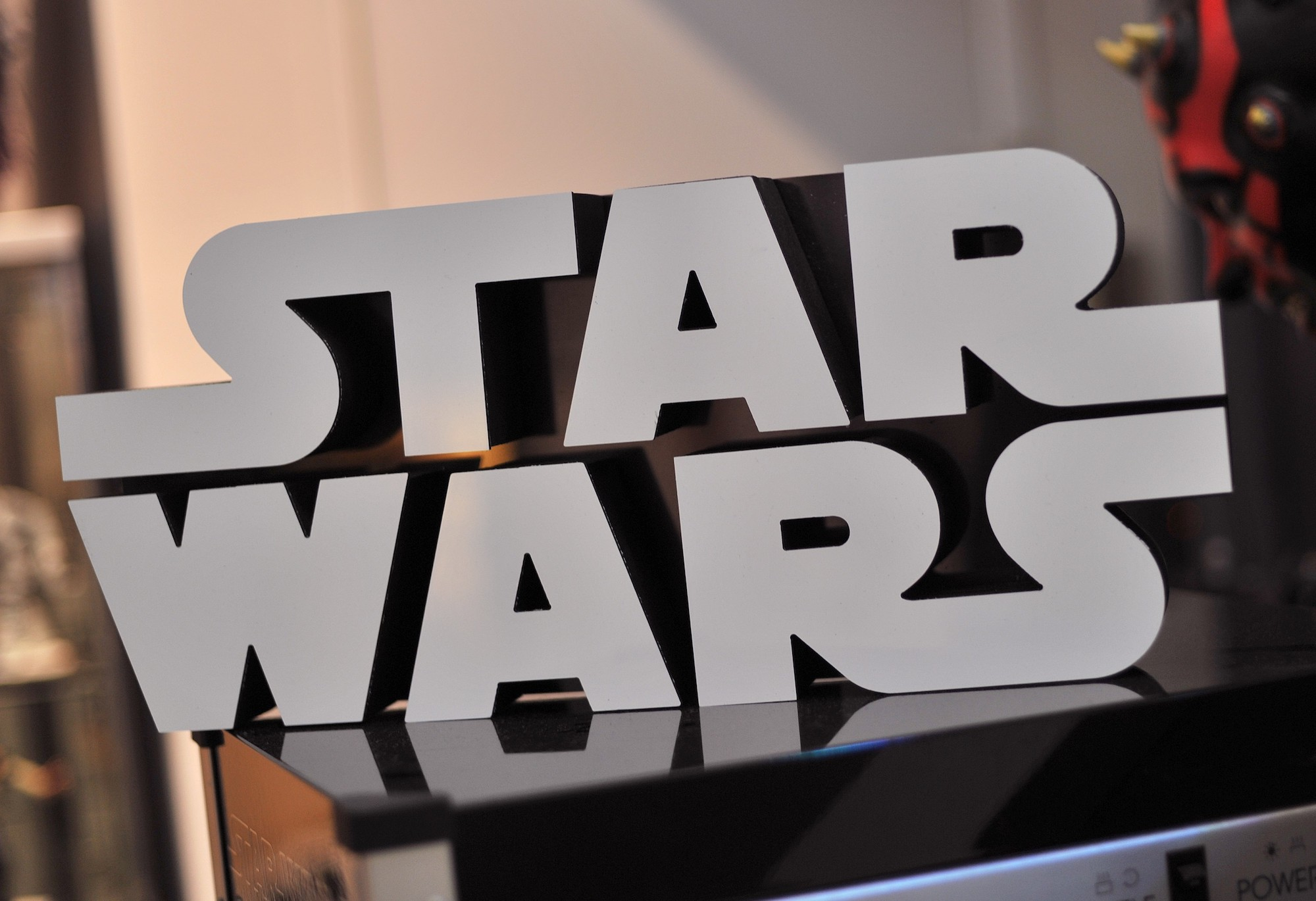 A Star Wars logo sign inside Rancho Obi-Wan, the world's largest private collection of Star Wars memorabilia, in Petaluma, California on November 24, 2015