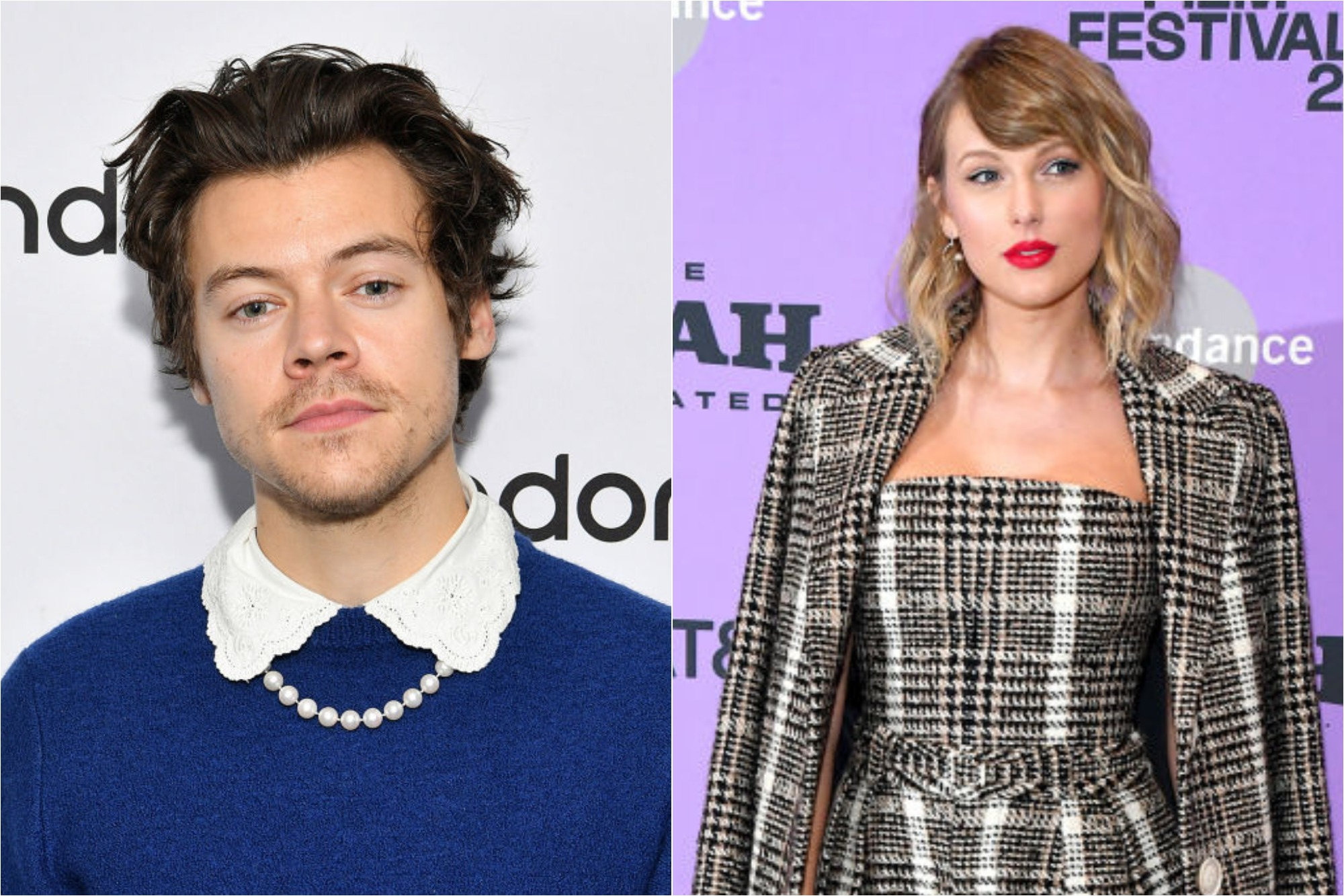 (L) Harry Styles at SiriusXM Studios on March 02, 2020 / (R) Taylor Swift at the Netflix premiere of 'Miss Americana' at Sundance Film Festival on January 23, 2020
