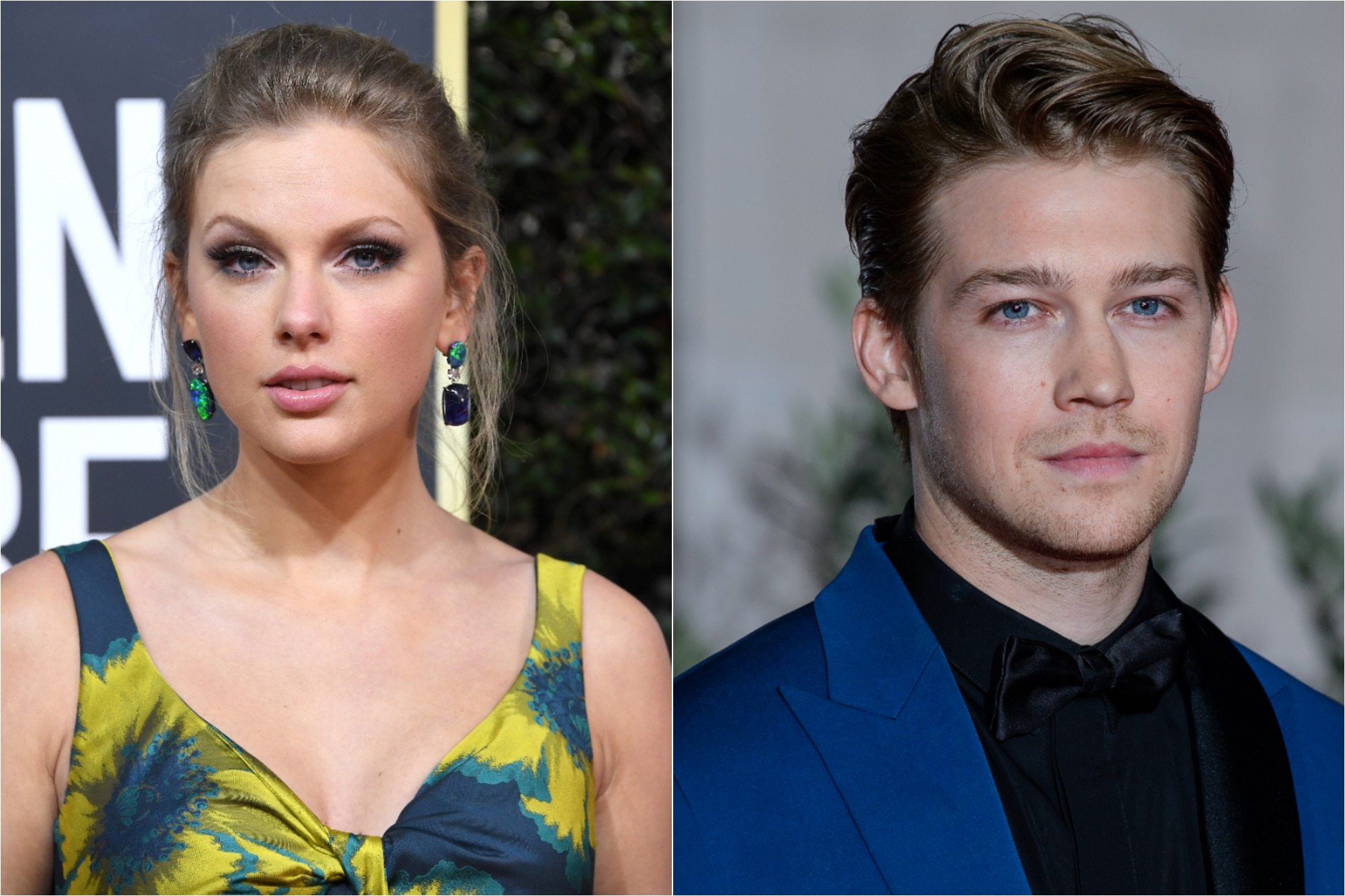 (R) Taylor Swift at the 77th Annual Golden Globe Awards on January 05, 2020 / (L) Joe Alwyn at the EE British Academy Film Awards 2020 After Party on February 02, 2020
