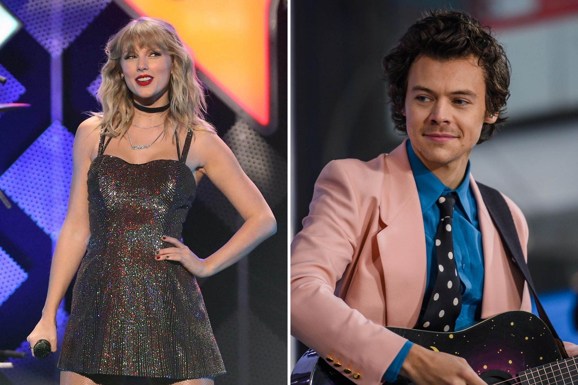 Taylor Swift onstage during the iHeartRadio's Z100 Jingle Ball 2019 at Madison Square Garden on Dec. 13, 2019 / Harry Styles on The TODAY Show Feb. 26, 2020.