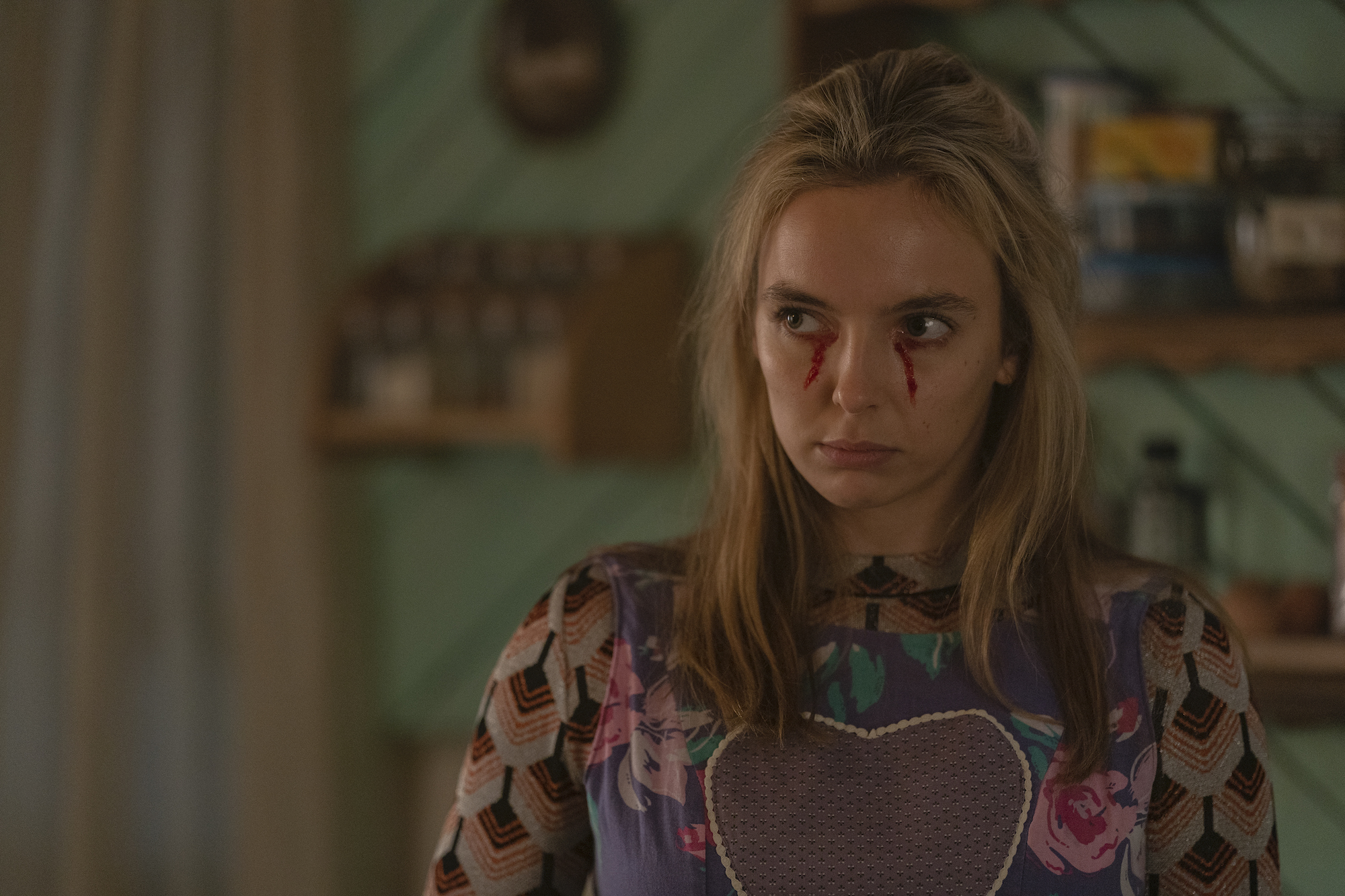 Jodie Comer as Villanelle in Season 3, Episode 5, of 'Killing Eve,' where she visits her family in Russia.