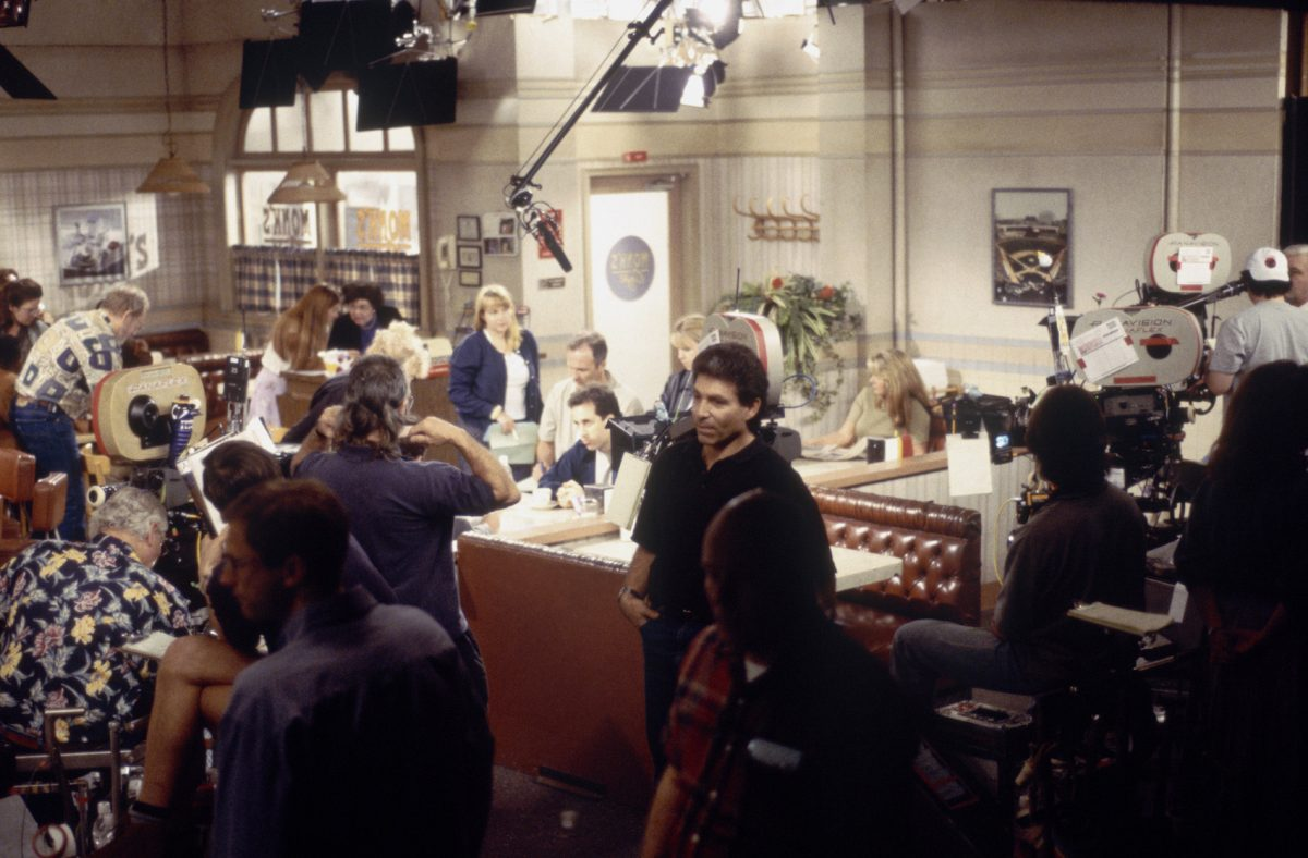 A scene from 'Seinfeld' being filmed at the fictional Monk's Cafe