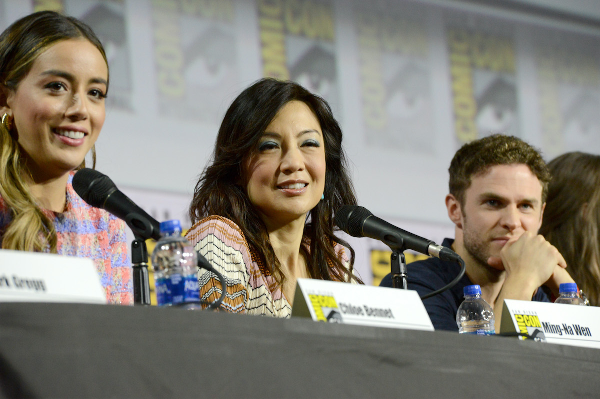 Chloe Bennet, Ming-Na Wen, and Iain De Caestecker at San Diego Comic-Con