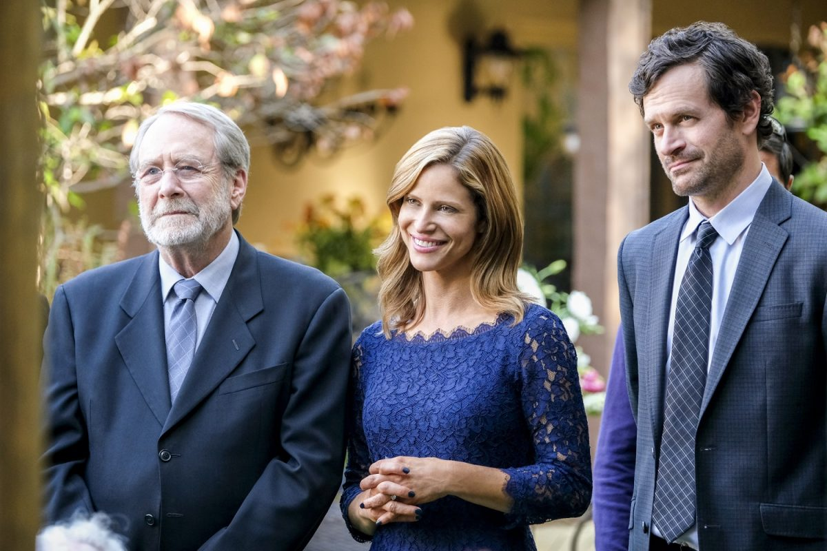 Andrea Savage with Martin Mull and Tom Everett Scott