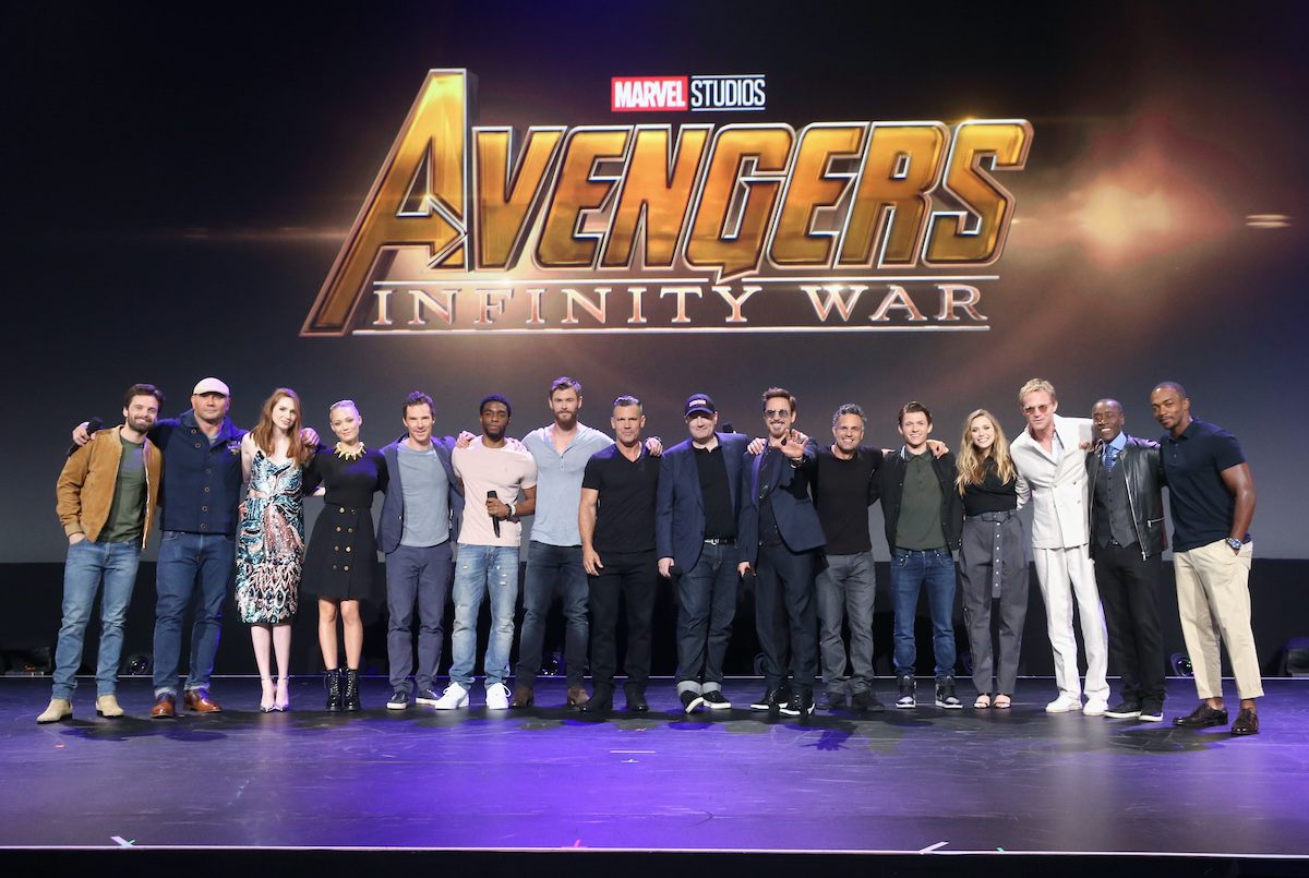 Kevin Feige and the cast of 'Avengers: Infinity War'