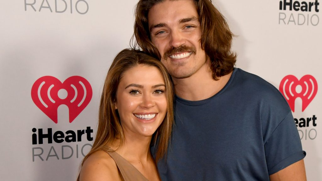 'Bachelor in Paradise' stars Caelynn Miller-Keyes and Dean Unglert attend the 2020 iHeartRadio Podcast Awards at the iHeartRadio Theater on January 17, 2020 in Burbank, California.