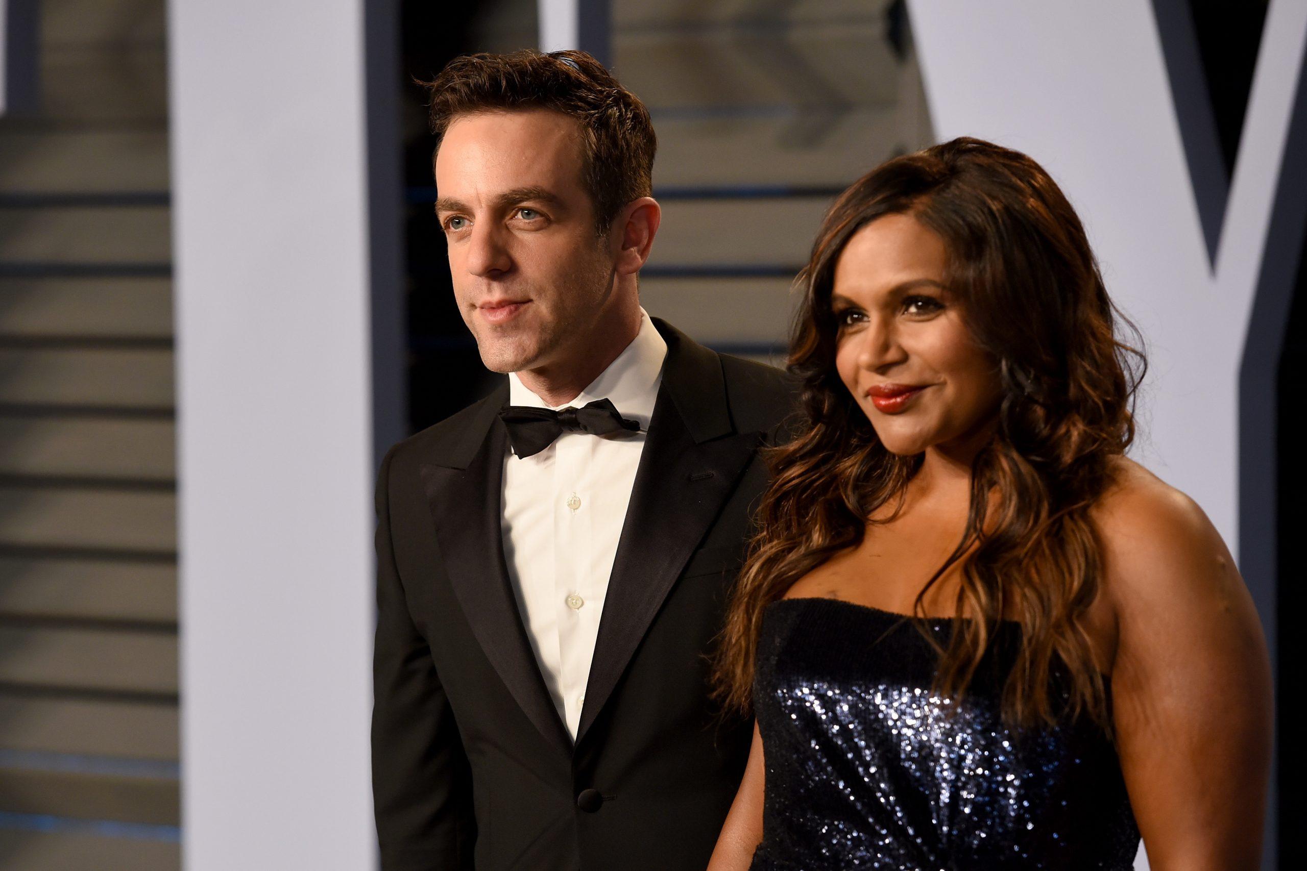 BJ Novak and Mindy Kaling at the 2018 Vanity Fair Oscar Party