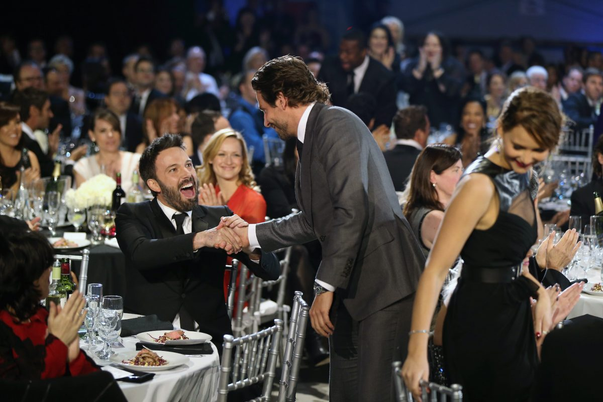 Ben Affleck and Bradley Cooper shake hands at the 2013 Critics' Choice Awards