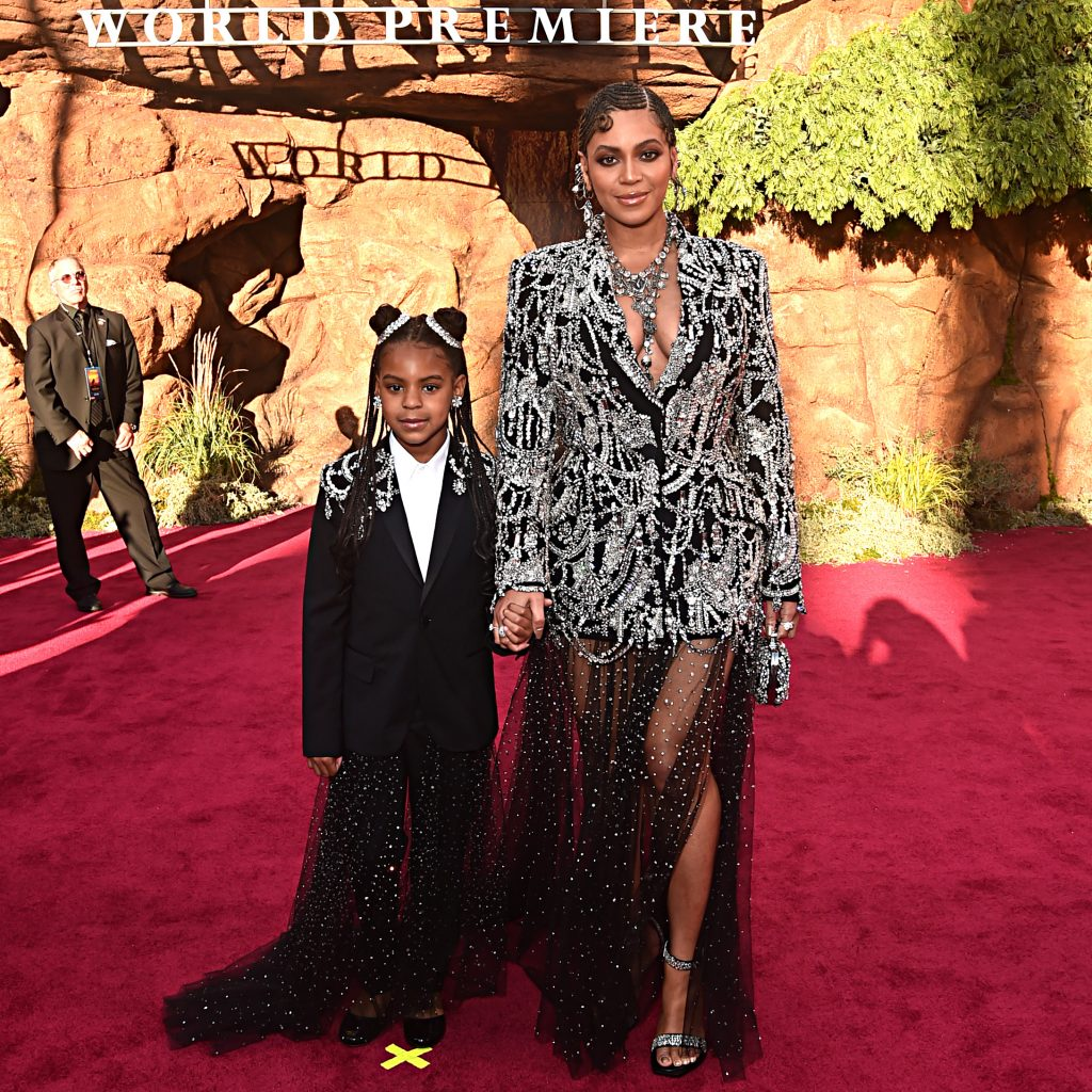 Blue Ivy Carter and Beyoncé Knowles-Carter attend the premiere of Disney's 'The Lion King'