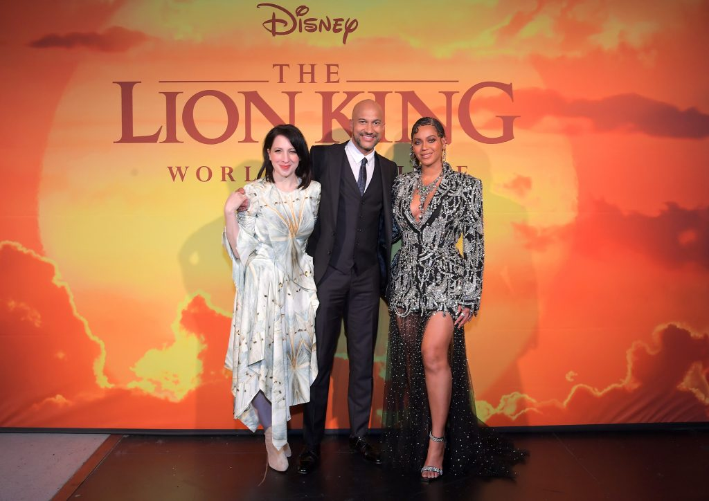 Elisa Key, Keegan-Michael Key, and Beyoncé Knowles-Carter attend the World Premiere of Disney's 'The Lion King'