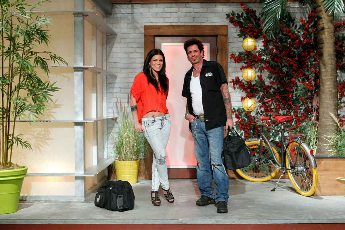House guests Daniele and Evel Dick Donato pose for a photo prior to moving in to the Big Brother House