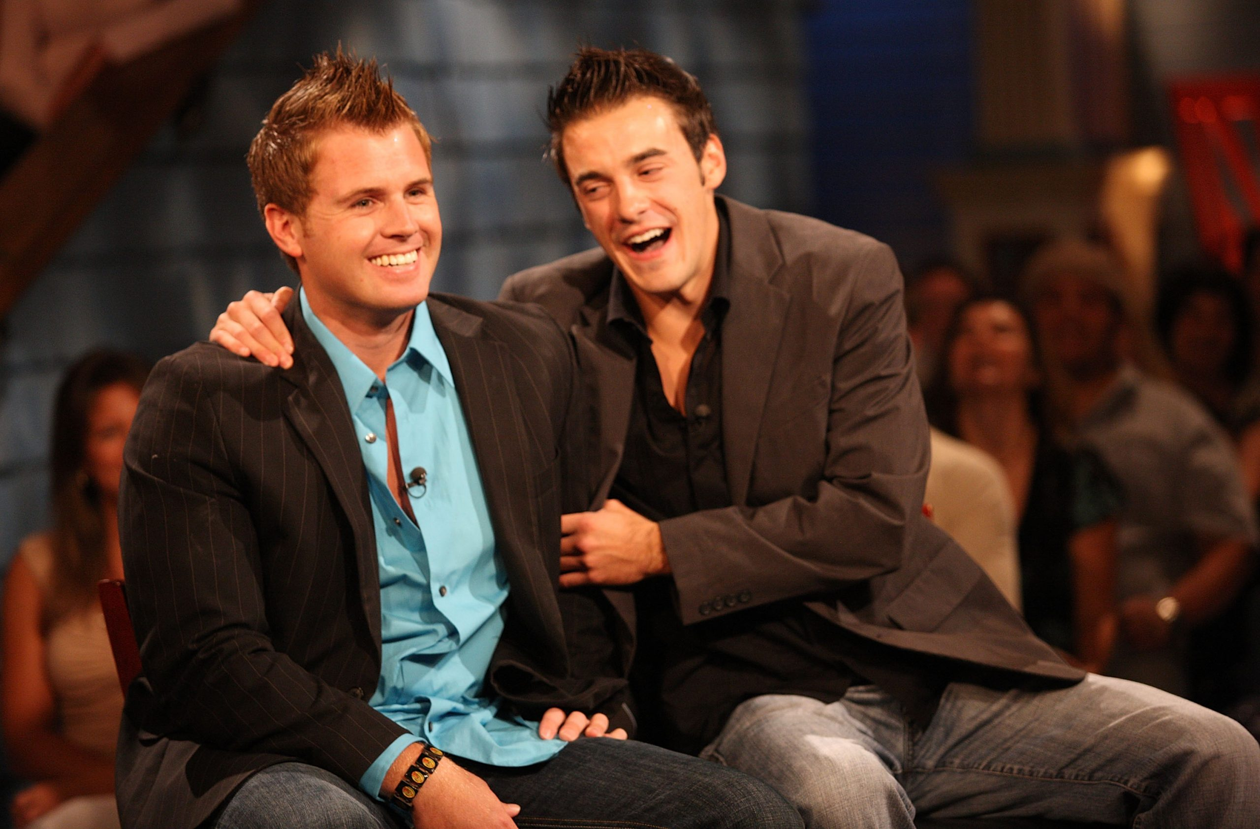 Second place contestant Memphis Garrett (L) and Dan Gheesling the winner of the Big Brother Season 10 Grand Finale