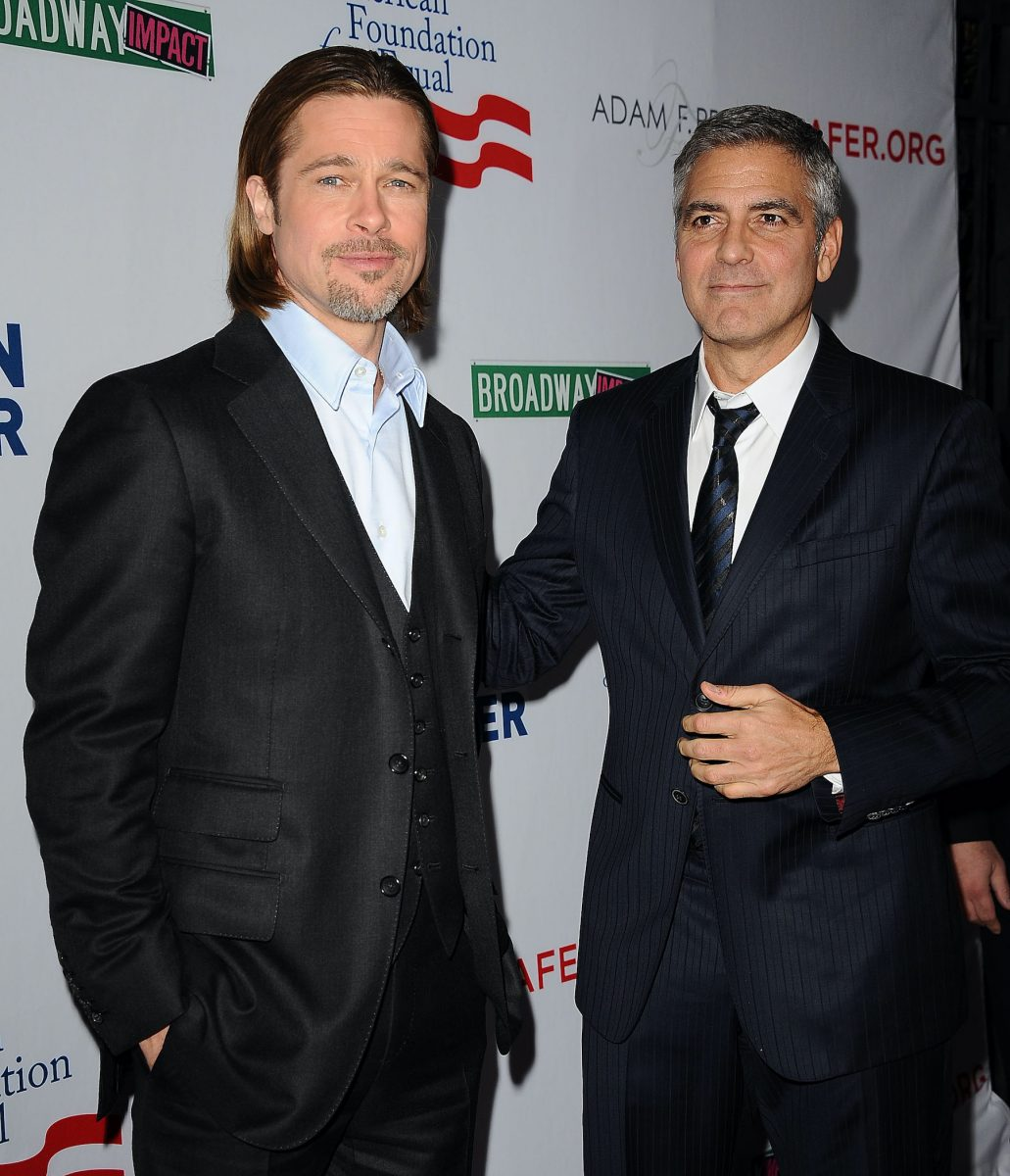 Brad Pitt and George Clooney at the premiere of '8'