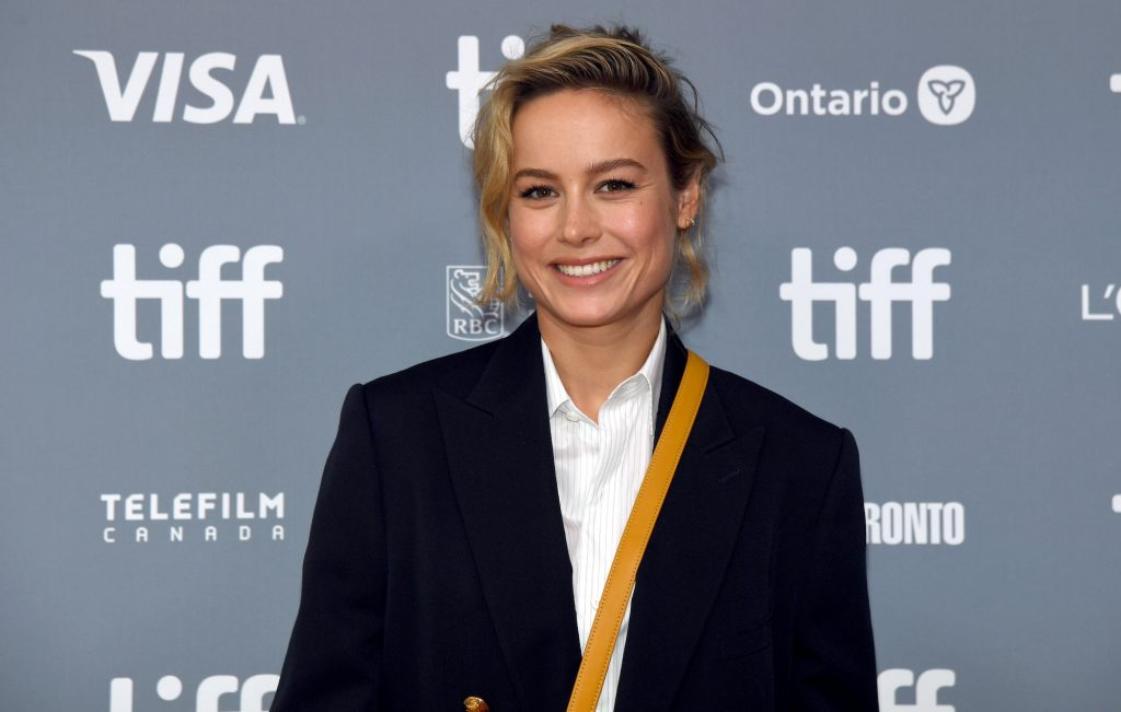Brie Larson smiling in front of a blue gray background