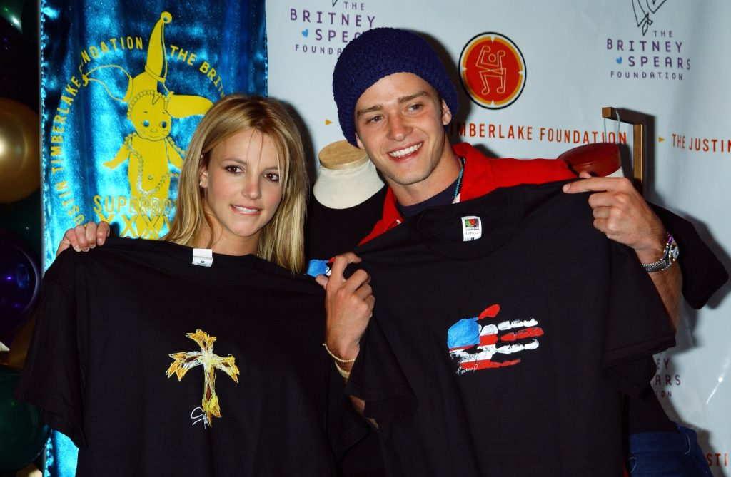 Britney Spears and Justin Timberlake show off their new T-shirt designs