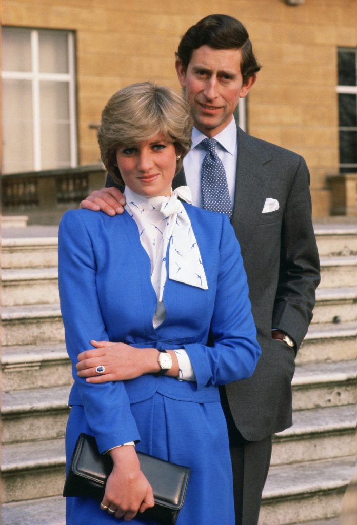 Charles and Diana during their engagement announcement