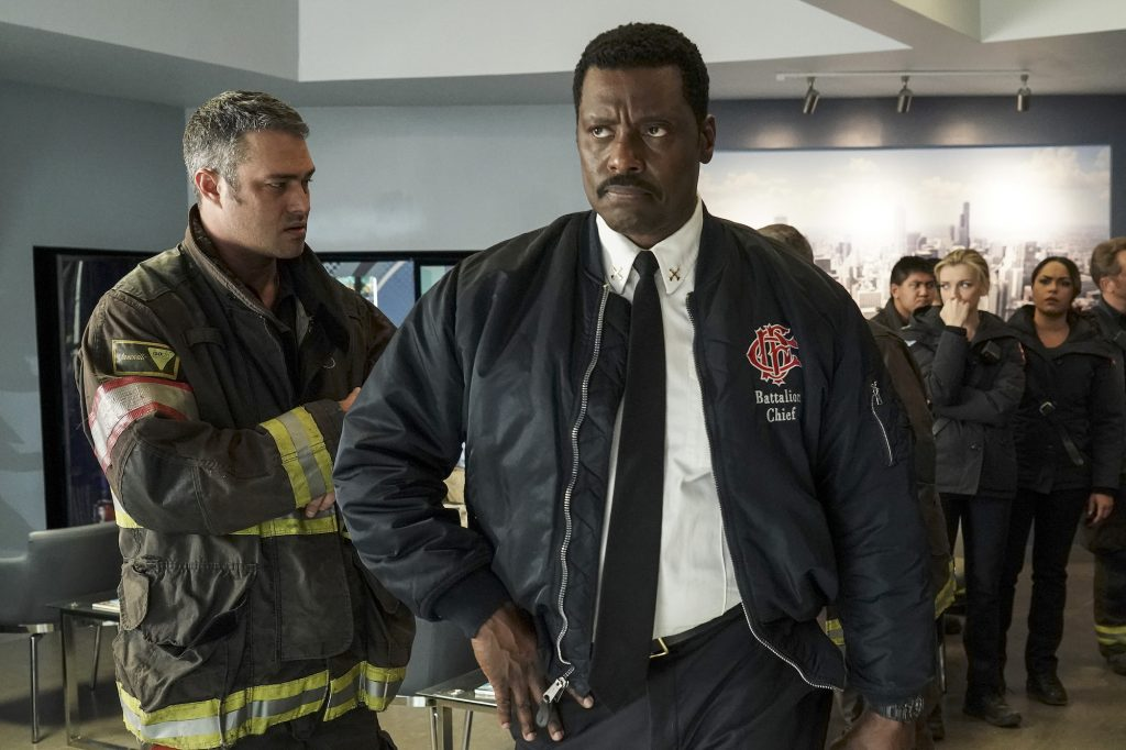 Taylor Kinney as Kelly Severide, turned to the side, , Eamonn Walker as Wallace Boden on 'Chicago Fire'