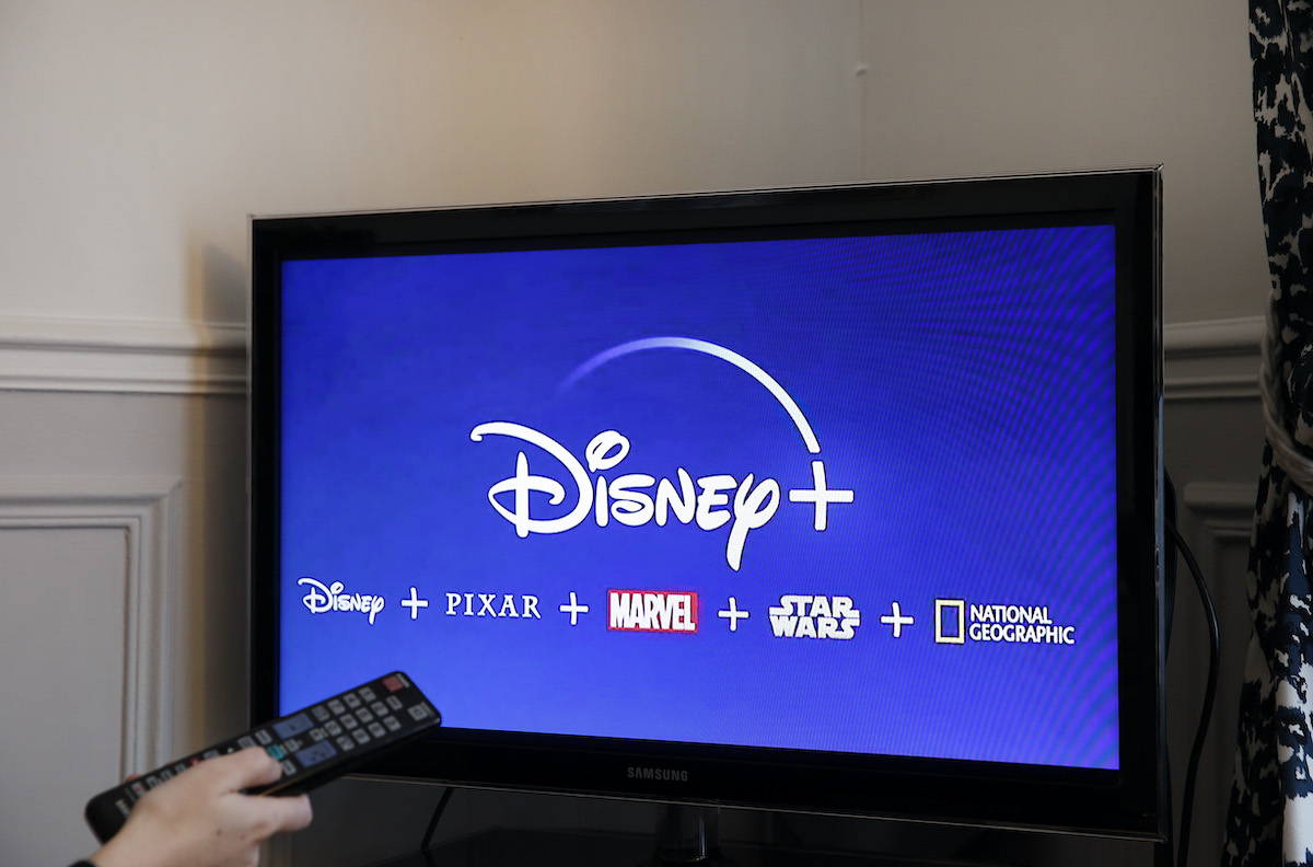 The Disney + logo on a television