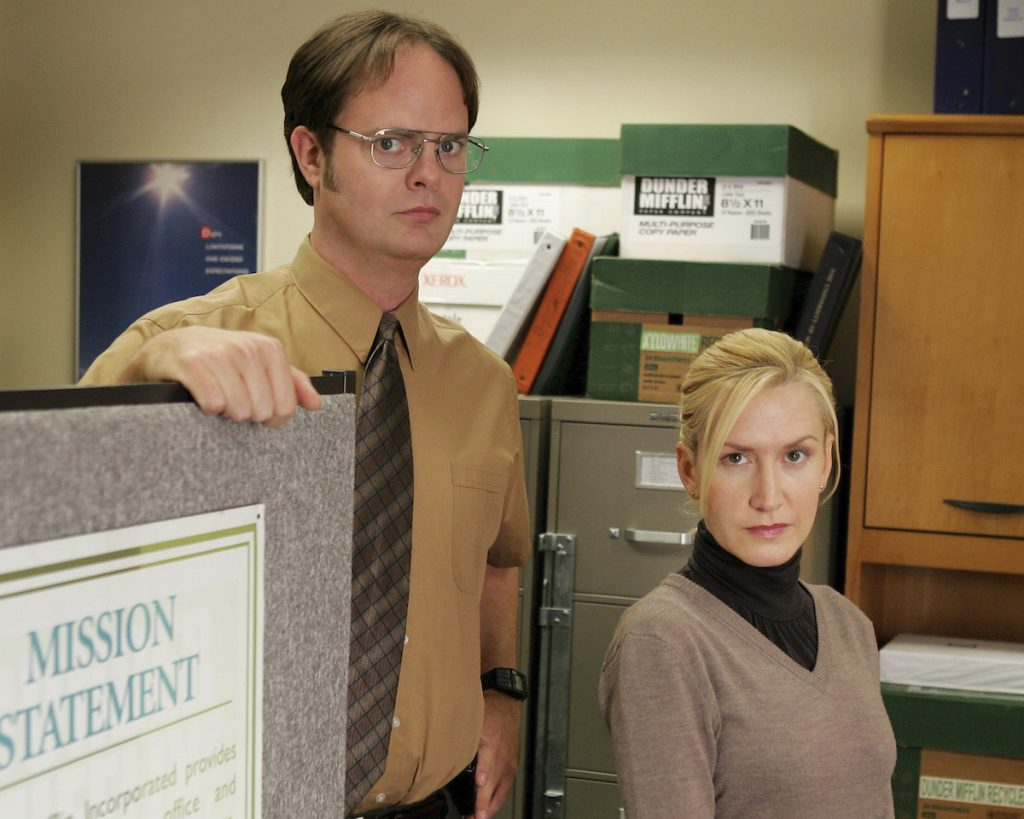 Rainn Wilson as Dwight Schrute, Angela Kinsey as Angela Martin on 'The Office'