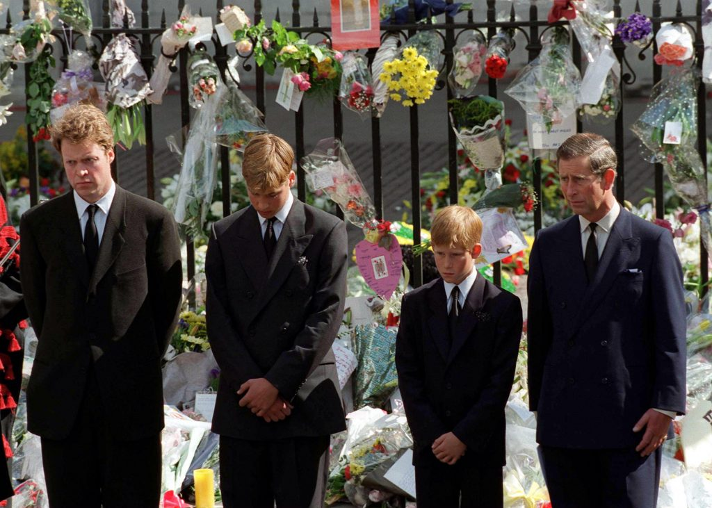Earl Spencer, Prince William, Prince Harry and Prince Charles on day of Princess Diana's funeral