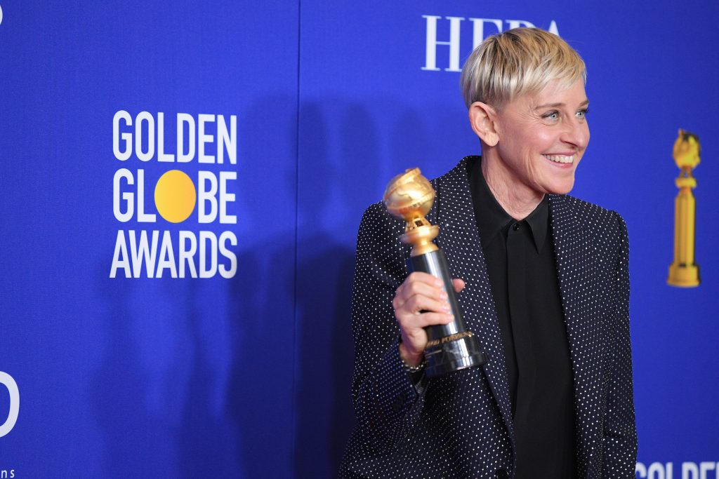Ellen DeGeneres poses in the press room during the 77th Annual Golden Globe Awards