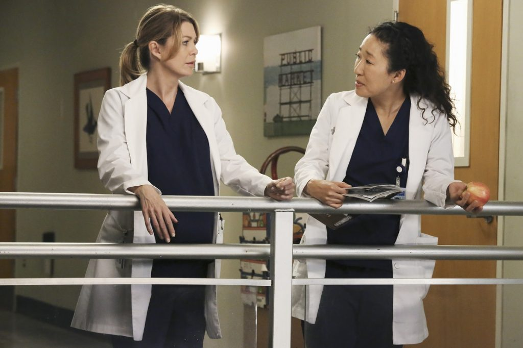 Ellen Pompeo as Meredith Grey and Sandra Oh as Cristina Yang on 'Grey's Anatomy'